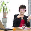 Funny mature businesswoman with phone — Stock Photo