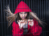 Red and caged — Stock Photo