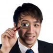 Stock Photo: Asimanager with magnify glass