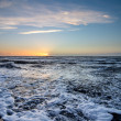 Sunset above Dutch beach — Stock Photo