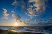 Sunset and cloudscape above the dutch sea — Stock Photo
