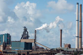 Steel mill overview with canal — Stock Photo