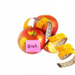 Apples with measuring tape, diet concept — Stock Photo