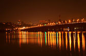 Paton bridge at night, Kiev, Ukraine — Stock Photo