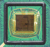 Open computer chip with gold wire connections — Stok fotoğraf