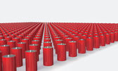 An Array of red batteries isolated on white — Stockfoto