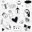 Doodles collection - hand drawn in vector. — Stock Vector