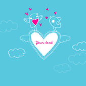 Vector frame with place for text. Valentine's day card — ストックベクタ