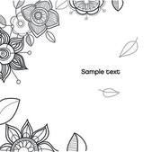 Arka plan ile çiçekler ve yapraklar. — Stok Vektör