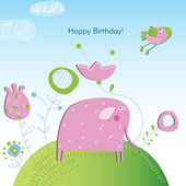 Vector illustration of an elephant. Happy Birthday — Stock Vector