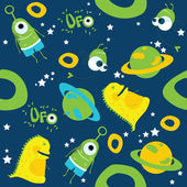 Vector background. Monsters. UFO on blue background — Stock Vector
