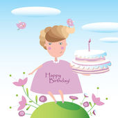 "Vector illustration ""Happy birthday"". Can be used as a postcard — Stock Vector"