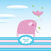 Vector illustration. Elephant and a Thank you text — Stock Vector