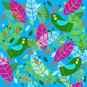 Vektorové pozadí s ptáky a listy — Stock vektor