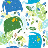 Vector background with elephants and foliage — Stock Vector