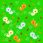 Vektor bakgrund med fåglar och blad — Stockvektor