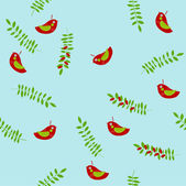Vector background with birds and foliage — Stock Vector