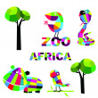 Vector set with animals. Africa. — Stock Vector