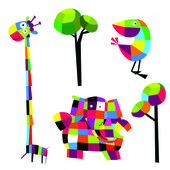 Vector illustration. Animals. — Stock Vector