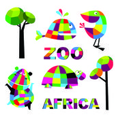 Vector funny animals with the text Africa — Stock Vector