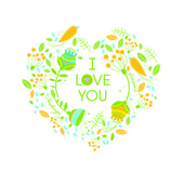 Vector floral illustration. I love you. — Stock Vector