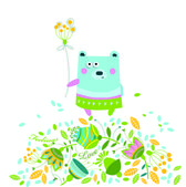 Ector illustration of a bear and flowers — Stock Vector