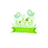 Vektor-Illustration mit Blumen und Vögel — Stockvektor
