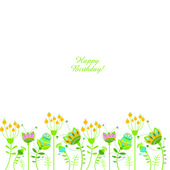 Vector illustration with flowers. Happy Birthday! — Stock Vector