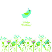 Vector illustration with flowers and a bird. Happy Birthday! — Stock Vector