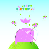 An elephant. Happy birthday — Stock Vector