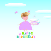 Girl and cake. Happy birthday — Stock Vector