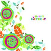 Floral illustration. Happy birthday — Stock Vector