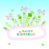 Floral illustration. Happy birthday — Vector de stock