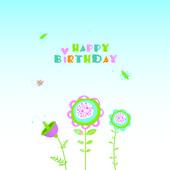 Floral illustration. Happy birthday — Stockvector