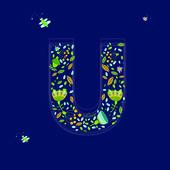 Květinové abeceda u — Stock vektor