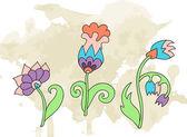 Doodle flower grunge background — Stock Vector