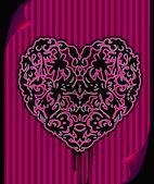 Black ornate emo heart — Stock Vector