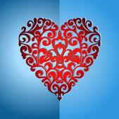 Elegant ornate love heart — Stock Vector