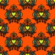 Damask Vector seamless pattern pumpkin — Imagen vectorial