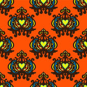 Damask Vector seamless pattern pumpkin — Stock Vector