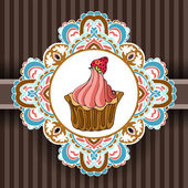 Vintage cupcake poster design — Stock Vector