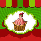Christmas holiday cupcakes bakery label — Stock Vector