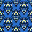图库矢量图片: Seamless pattern vector winter damask blue