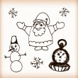Snowman and Santa retro sketch vector doodles — Stock Vector