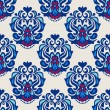 图库矢量图片: Damask flower seamless vector pattern