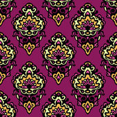 Colorful damask flower seamless vector pattern — Stock Vector