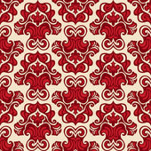 Seamless pattern damask flower red vector — Stock Vector