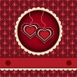 Stock Vector: Red valentines scrapbook heart background