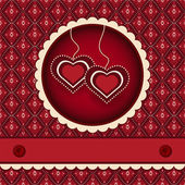 Red valentines scrapbook heart background — Stock Vector