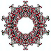 Abstract kaleidoscope doodle border on white — Foto Stock